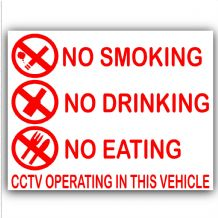 2 x No Smoking,Eating,Drinking in this Vehicle-Warning Safety Sticker Sign